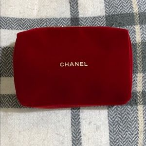 Authentic Chanel Red Velvet Zip Cosmetic Bag